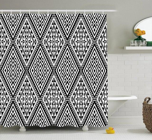 Geometric Shower Curtain Diamond And Diagonal Shaped Symmetric Aztec Folk Ethnic Pattern Decor Set With Hooks 70 Inche