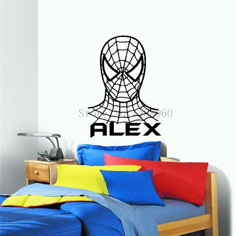 G023 <font><b>Spiderman</b></font> Super man <font><b>kids</b></font> <font><b>room</b></font> <font><b>DIY</b></font> Personalised Custom name Poster paper <font><b>wall</b></font> <font><b>stickers</b></font> <font><b>home</b></font> decor decals <font><b>art</b></font> vinyl Poster