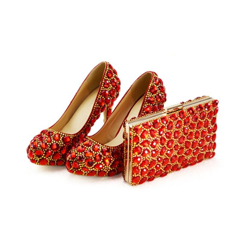 Bag A Oro Red Diseño Novia 11cm Personalizado Por Embrague Partido Bombas Bolso Formales Prom Juego Vestir With Boda Rojo Rhinestone Zapatos Encargo De Con AwwgtSxU