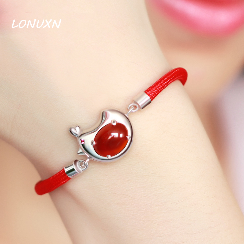 Free lettering 925 Silver Red String Bracelet Cartoon chicken female jewelry gift Natural semi-precious stones red chalcedony cartoon airplane style red