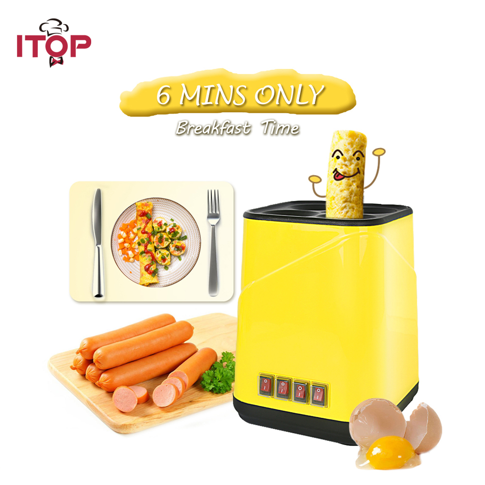 ITOP Automatic Electric Egg Roll Maker Egg Boiler Non-stick Egg Cup Omelette Sausage Machine Breakfast Machine cukyi automatic roll maker electric egg boiler cup omelette breakfast maker non stick kitchen cooking tool 220v heat separately