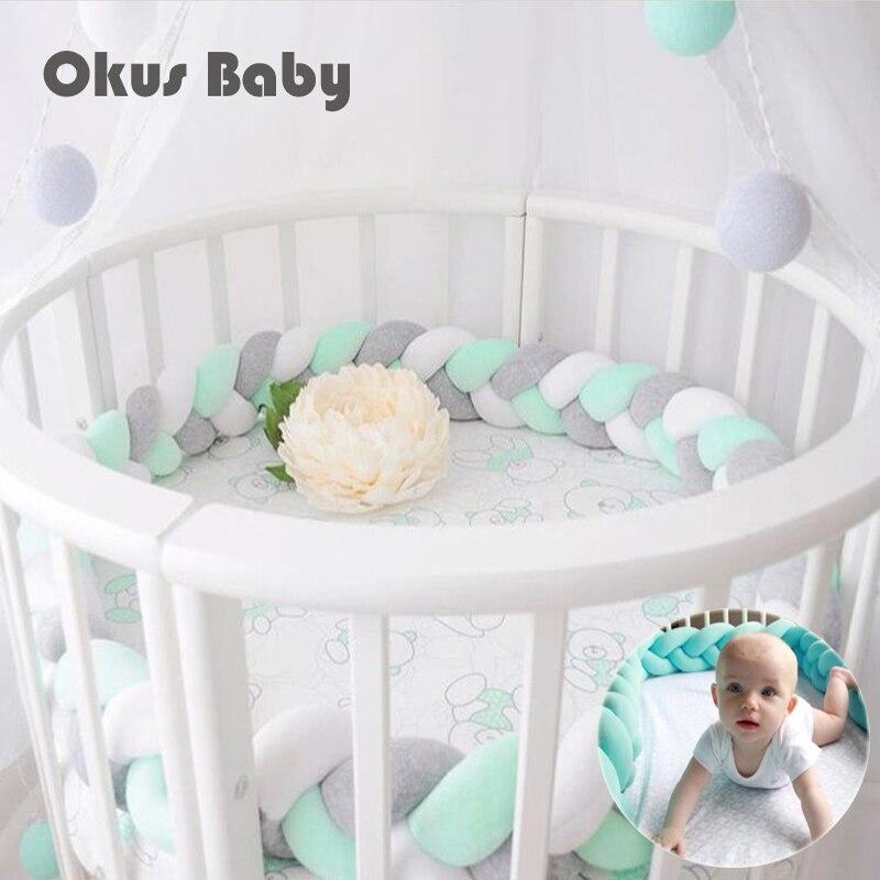 200 cm longueur bébé lit pare-chocs noeud conception nouveau-né berceau Pad Protection lit pare-chocs literie pour bébé chambre décor en peluche oreiller