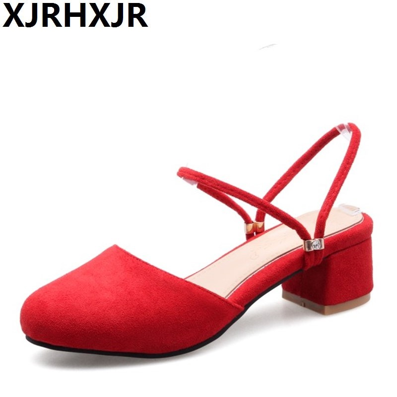 XJRHXJR 2018 New Fashion Women Sandals Thick Heel Sandals Casual Summer Shoes Woman Flock Round Toe Slippers Large Size 32-43 xiaying smile summer woman sandals square cover heel woman pumps buckle strap fashion casual flower flock student women shoes