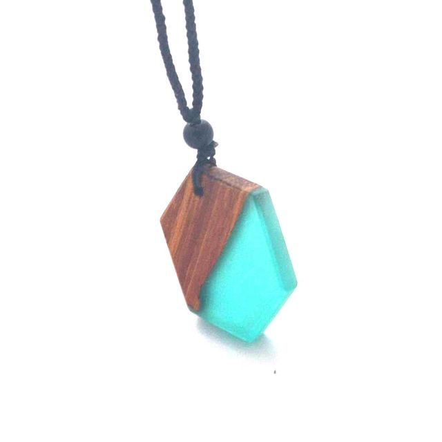 Necklace pendant, small new type of ancient handmade wood resin jewelry, jewelry for men and women, ropes can be adjusted
