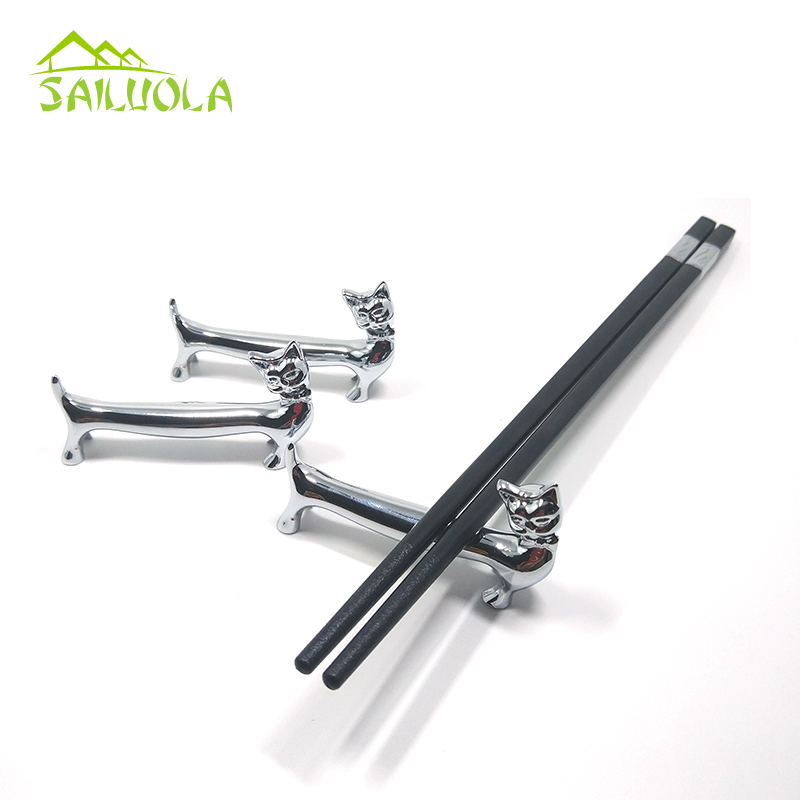 8pcs lot Zinc Alloy Lovely Style Little Cat Chopsticks Rest Chopsticks Rack Frame Creative Practical Penholder