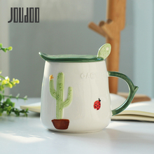 JOUDOO Europe Ceramic Milk Mugs Cup With Lid and Spoon Creative Cactus Design Ins Office Coffee Water Mug Wholesale 35