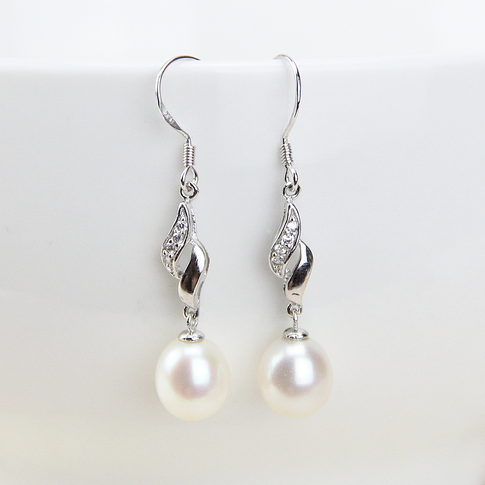 New Fashion Dangling Earring For Women Trendy Birthstone Flower Crystal Wedding Freshwater Natural Pearl Dangle In Drop Earrings From