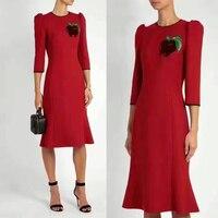 100% шерсть зимнее платье для женщин, элегантные офисные платье, тонкий Vestido De Festa красное платье, фрукты алмаз орнамент осеннее платье