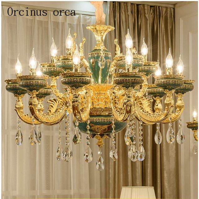 European style retro luxury ceramic chandelier living room crystal european style retro luxury ceramic chandelier living room crystal lamp dining room bedroom french villa glass aloadofball Gallery