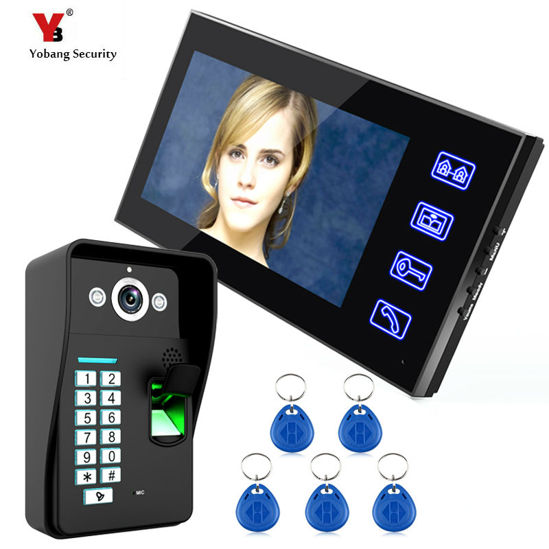 Yobang Security 7 inch fingerprint Video Door Phone Night Vision Doorbell Camera Mounted Video Intercom Monitor with RFID keyfob new 7 inch color video door phone bell doorbell intercom camera monitor night vision home security access control