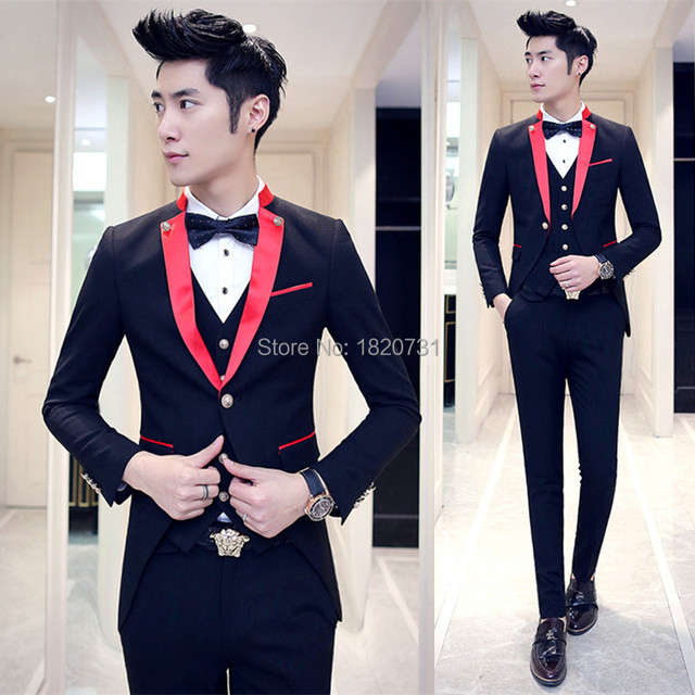 Red Black Tuxedo Wedding Suits For Men 2017 Lastest Prom Suit Costume Marriage Homme Contrast Collar Red White Black 3pcs