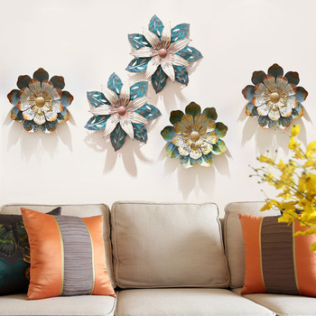 New Chinese Wrought Iron Lotus Wall Hanging Mural Crafts Decoration 3D Stereo Flowers Wall Sticker Background Ornament R2217