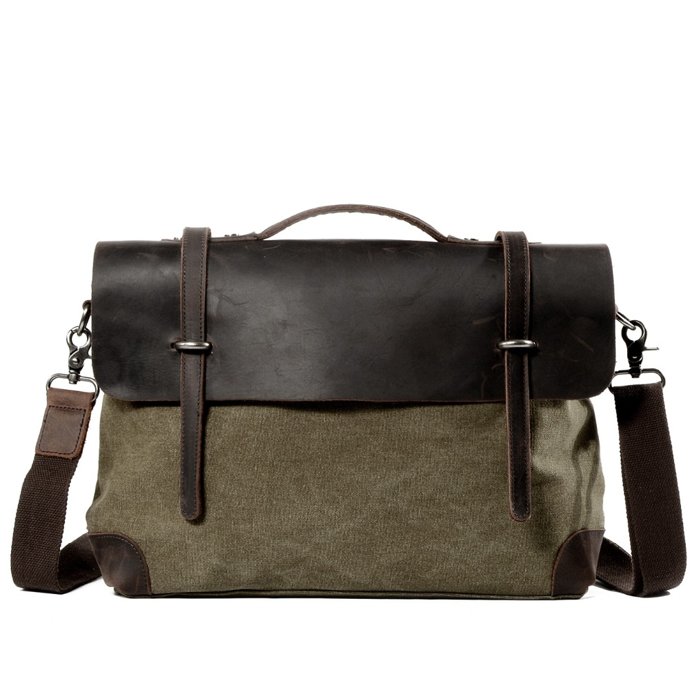 Man Cowhide Crazy Match Canvas Single Package Male Package Business Affairs Leisure Time Portable Oblique Satchel Briefcase