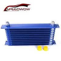 Linha SPEEDWOW 10 10 UM Refrigerador De Transmissão Radiador de Óleo Do Motor de Alumínio Racing Kit Universal radiador De Óleo Do Radiador Do Carro Azul|Tratamento e abastecimento de combustível|Automóveis e motos -
