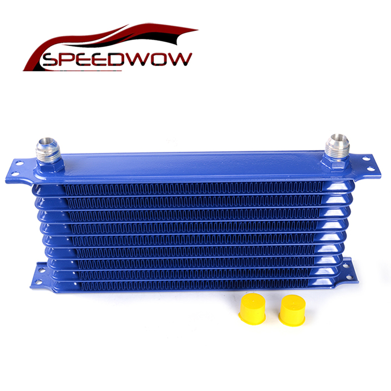 SPEEDWOW-10 Row 10 AN Engine Oil Cooler Aluminum Transmission Cooler Racing Oil Cooler Radiator Kit Universal Car Blue brand new oil cooler cover for 4be1 4bc2 4bf1 npr ks22 8 94438 371 0 oil cooler covers