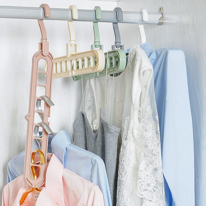 ZIDUKE HOME Magic Multi-Functional Dual Hanger Folding Clothes Hanger Clothing Drying Rack SN006