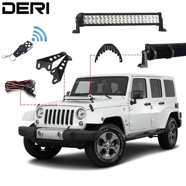 3D 22in 120W Combo Offroad LED Light Bar + Wireless Remote Controller Hood Mount Bracket Isolator For Jeep Wrangler JK 07-17 Kit