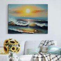 Hand Painting Seascape Oil Painting Realistic Art Painting Beautiful Sunset Home Decorative Art Picture Paint On Canvas 50X60CM