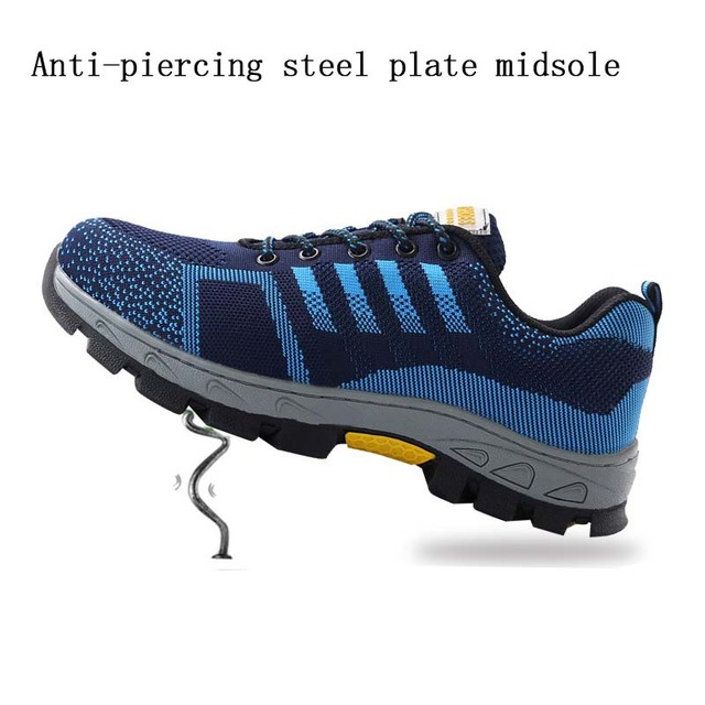New exhibition Men Steel Toe Safety Work Shoes Breathable men shoe sneakers Anti-piercing anti-slip wearable Protection Footwear 4