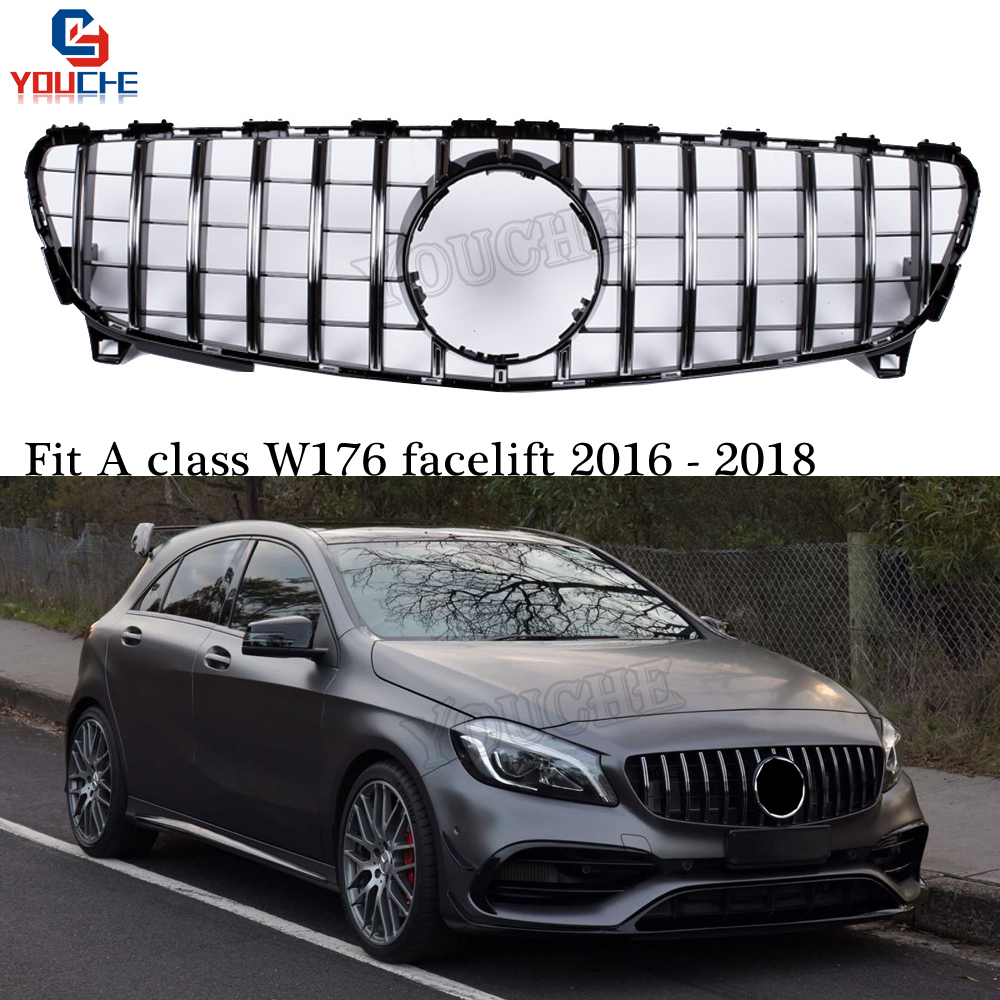 GT R Style Front Bumper Grill Mesh For Mercedes W176 Facelift 2016 2018 A160 A180 A200