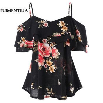 Floral Print Sexy Strapless Chiffon Blouses