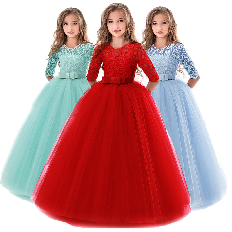 Long sleeve   girl   wedding   dress   high-end children party   dress     girl   first communion   dress   Princess ball gown vestido comunion