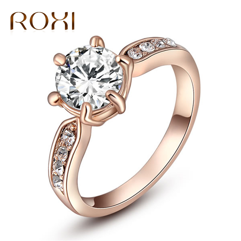 ROXI 1.75ct AAA Zircon Engagement Rings for women Rose Gold Wedding Rings Female Anel Austrian Crystals Jewelry bague femme