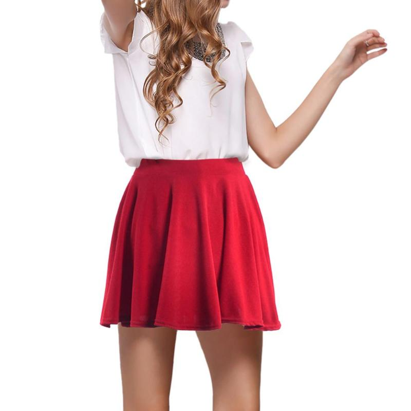 Primavera Verano mujer alta cintura elástica línea plisado Mini Fondo  Skater falda Casual Características  La moda ac4a0309bac5