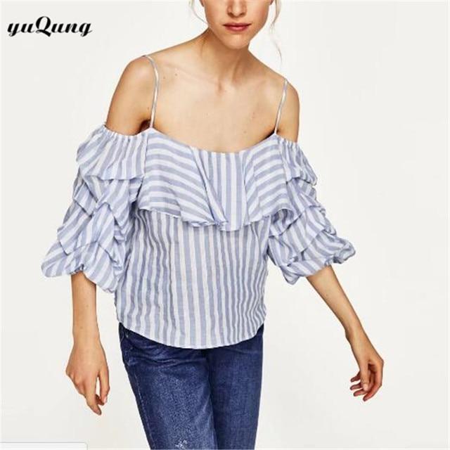 35f7dec4f Yuqung Manga Puff Azul Raya Blanca de La Blusa Camisas Ruffles Mujeres Sexy  hombro Verano Nueva
