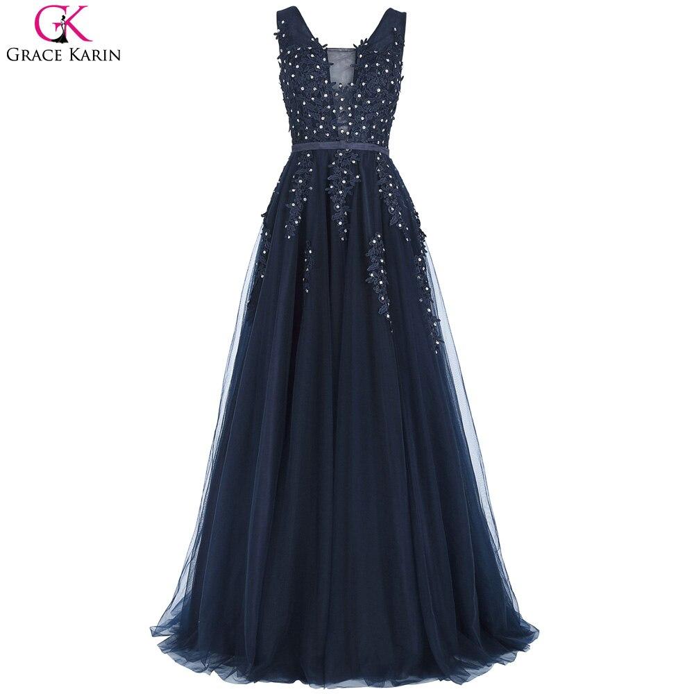 Grace karin navy blue prom dresses long sexy backless v for Navy evening dresses for weddings