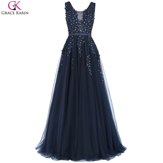 Grace karin marineblau prom kleider lange reizvolle backless v ...