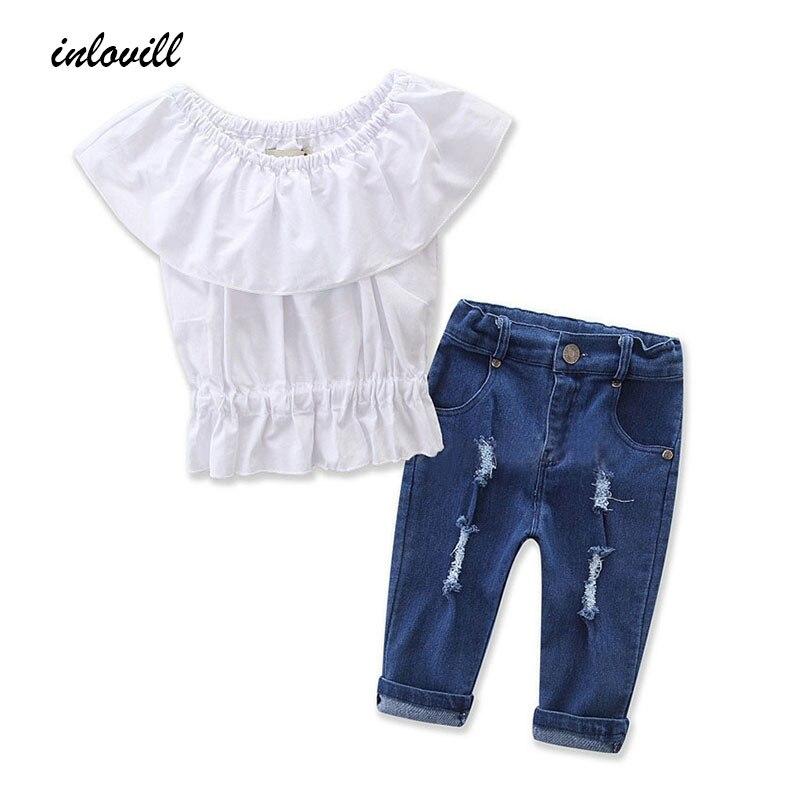 2018 Nova Moda Crianças Roupas Das Meninas Fora do ombro Tops de Culturas Branco + Buraco Denim Calça Jeans 2 PCS Criança Crianças roupas