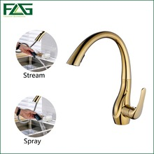 FLG Kitchen Faucets Deck Mounted Single Handle Hole Golden Plate All Around Rotate Swivel 2-Function Water Outlet Water Sink Tap