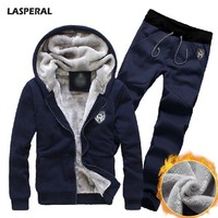 LASPERAL 2017 New Plus Size Fleece Velvet Coats Men Hoodies Long Pants Warm Thicken Slim Tracksuits
