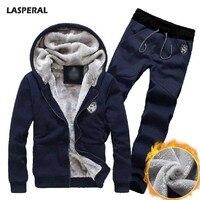 LASPERAL 2017 New Plus Size Fleece Velvet Coats Men Hoodies Long Pants Warm Thicken Slim Tracksuits