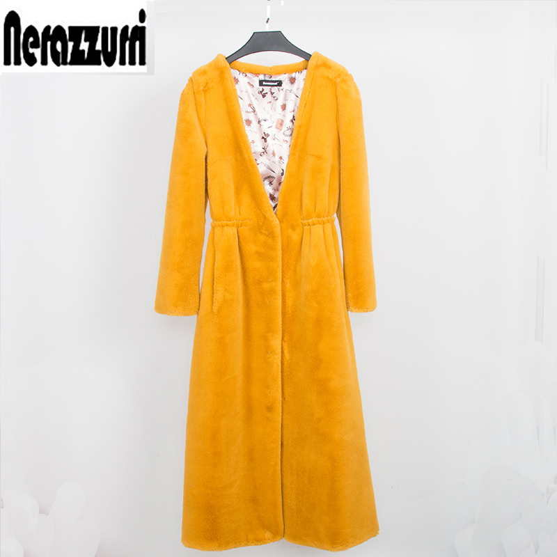 Nerazzurri En Fausse fourrure manteau femmes long jaune moelleux veste profonde v-cou furry Faux de fourrure plus la taille dames hiver pardessus 5xl 6xl 7xl