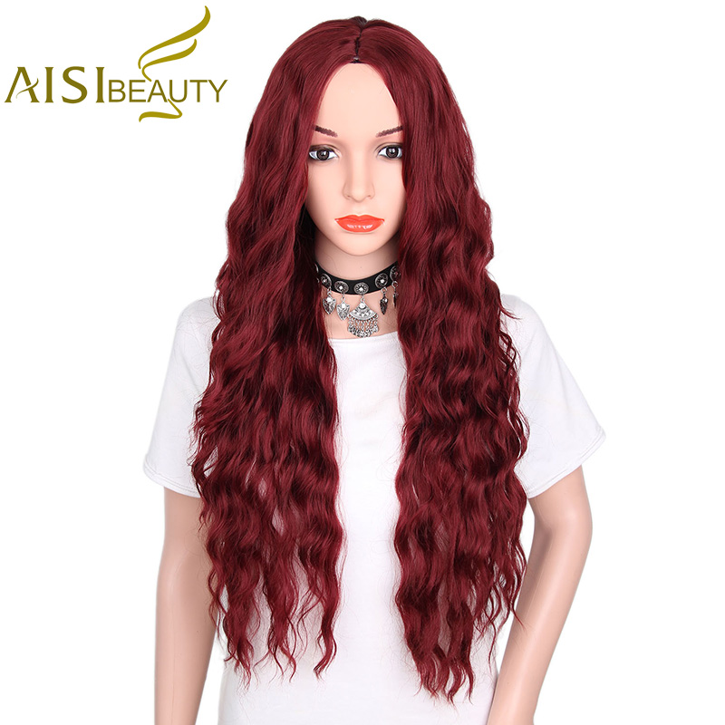 AISI BEAUTY 30 Synthetic Wigs Mixed Brown and Yellow Black Color Long Wavy Hair Wigs for Women