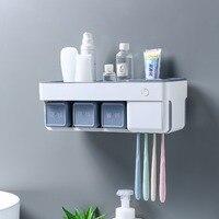 Toothbrush holder bathroom brushing intelligent sterilization kit toothpaste toothbrush rack suction wall