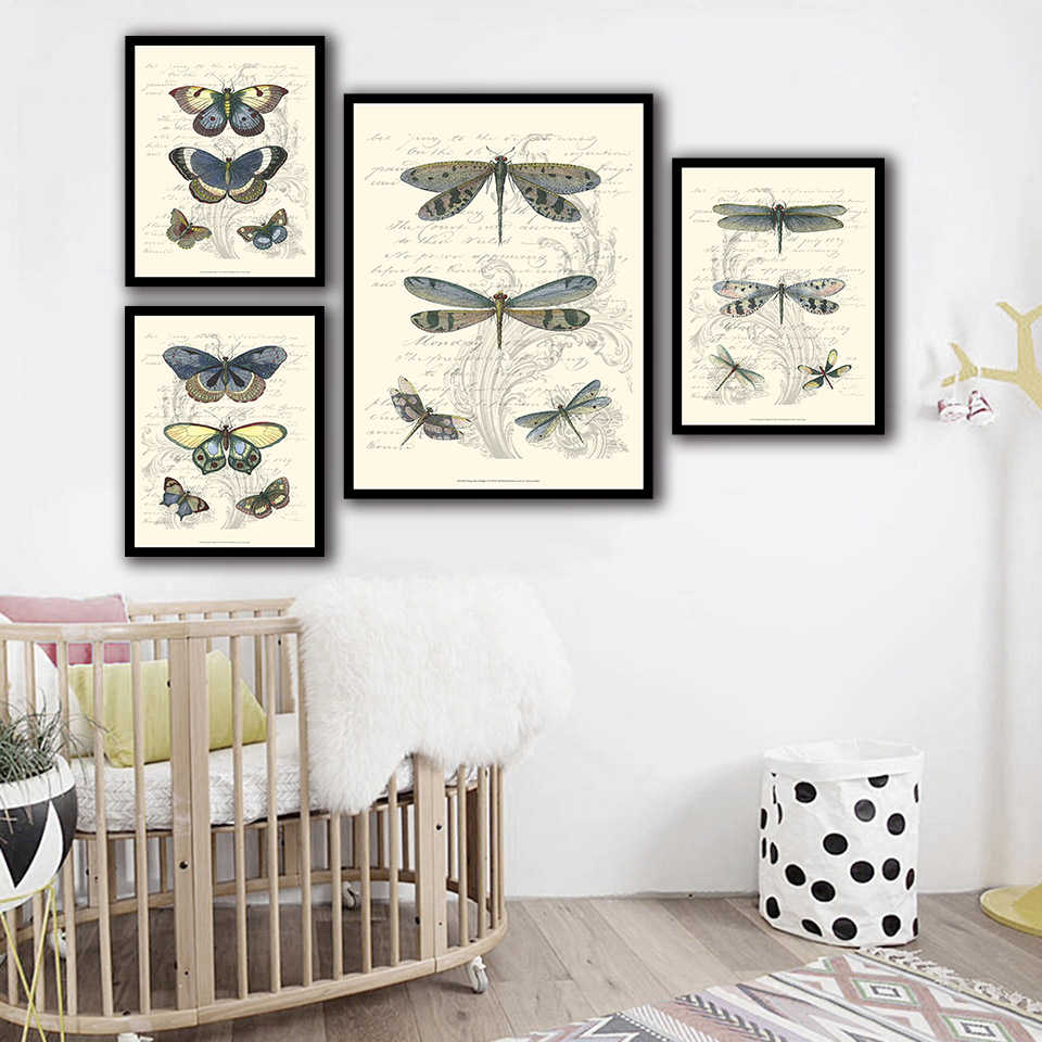 Nordic Watercolor Picture Wall Art Canvas Painting Butterfly Dragonfly Animal Posters And HD Prints Abstract Wedding Decoration