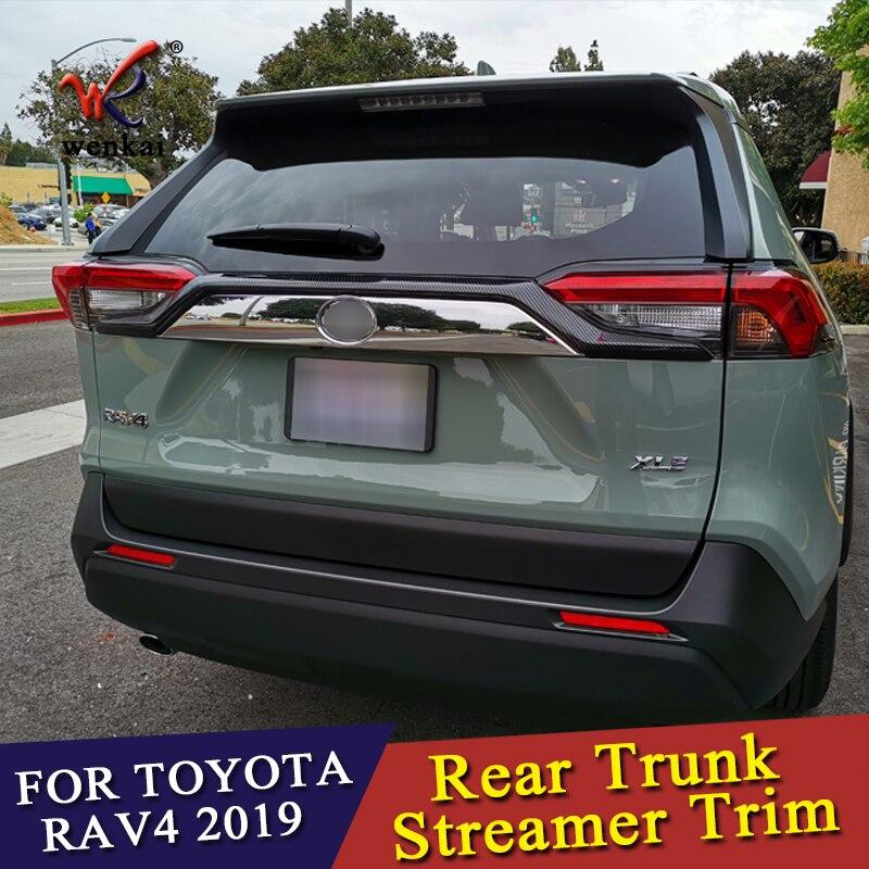High Quality ABS Chromed Rear Trunk Streamer Gate Trim For Toyota RAV4 2019 2020 Car Accessories