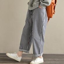 ZANZEA 2018 mujeres pantalones de algodón de lino bolsillos rayas pierna  ancha suelta Casual Pantalon Femme 473192036522
