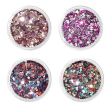 1 Box 10ML Hair Chunky Glitter Pots 4 Colors Choice Mixed Size Hexagon Shape New Face Body Nail Crafts Festival MA-03(4)