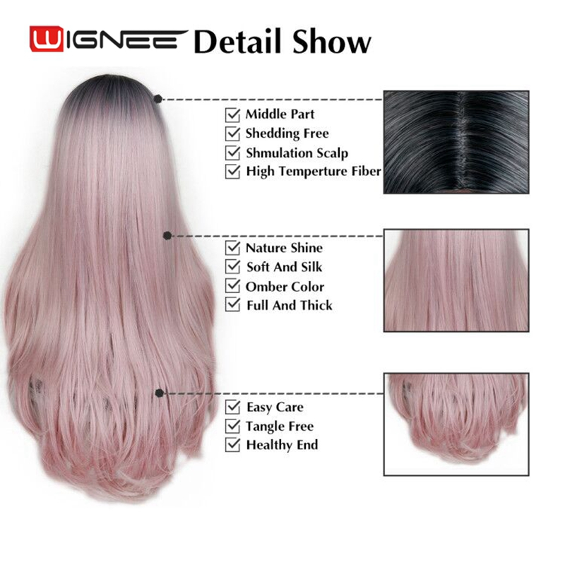 Image 3 - Wignee High Density Heat Resistant Synthetic Fiber Straight Wigs For Women Ombre Pink/Grey/BUG Glueless Cosplay Natural Hair Wig-in Synthetic None-Lace  Wigs from Hair Extensions & Wigs
