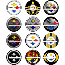 f9e18a58 50pcs Charm Sport Team Pittsburgh Steeler Football Snap Button Charms  Fashion Fit For DIY Bracelet&Necklace Accessories