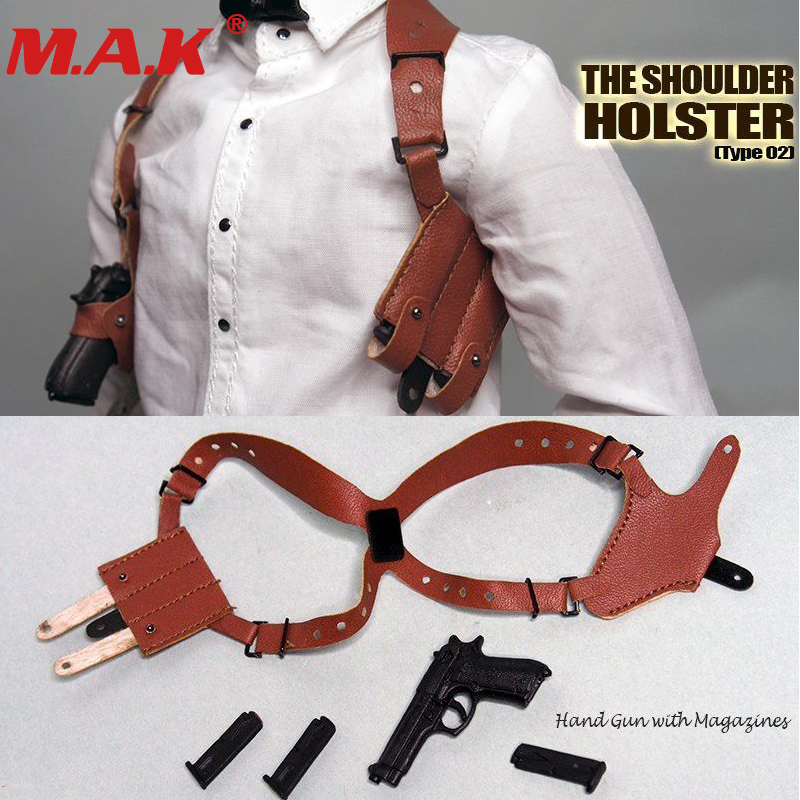 Essential-Gear-Series Holster Weapons-Set Pistol Hanging Classic The-Shoulder Black/brown