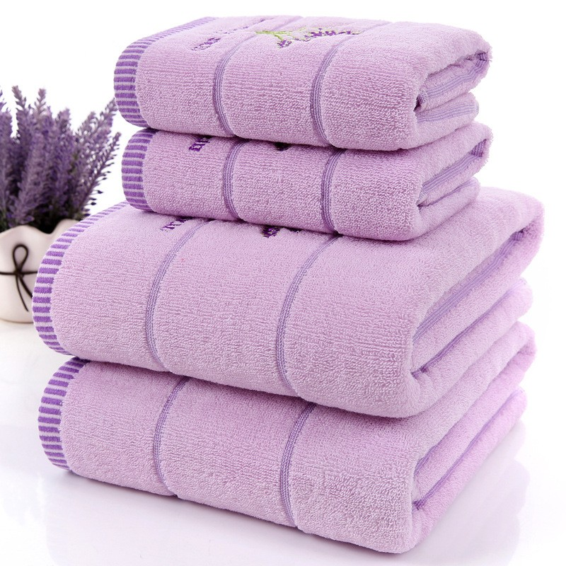 Nuovo 3 pz/set di Lusso Lavanda 100% Cotone Viola Set Asciugamano Bianco toalhas de banho 1 pz Telo da bagno di Marca 2 pz Asciugamano Viso bagno