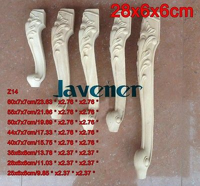 Z14 -28x6x6cm Wood Carved Onlay Applique Carpenter Decal Wood Working Carpenter Leg European Style