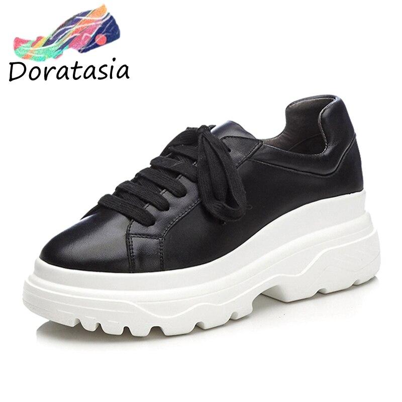 1feed40509a87f Noir Lacets Plat Noir blanc Véritable Décontracté Baskets Marque Femme Cuir  Doratasia Chaussures Automne Appartements Design ...