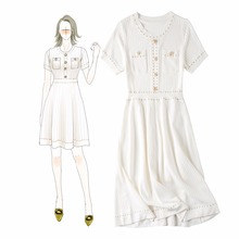 France style elegant womens buttons knitted dress New brand design short sleeves summer knitting A265