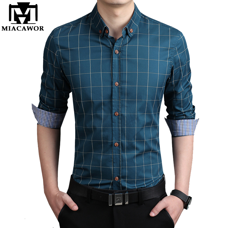MIACAWOR New Casual Men Plaid Shirt Fashion Dress Shirts Slim Fit  Social Shirt Long-Sleeve Chemise Homme Plus Size 5XL MC242